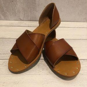 Merona | Brown, Leather Flat Sandals